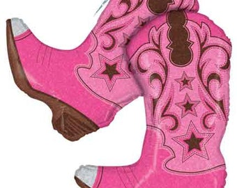 """36"""" Holographic Pink Dancing Cowgirl Boots Foil Balloon, Birthday- party- wild west- Decor prop """"Same Day Shipping"""""""