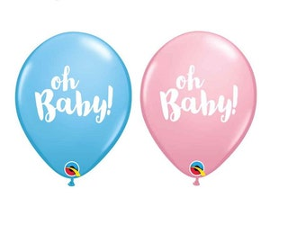 """Oh Baby Girl or Oh Baby Boy Balloons Set of 10 latex Balloons, 11"""" Balloons Baby Shower, Decor prop """"Same Day Shipping"""""""