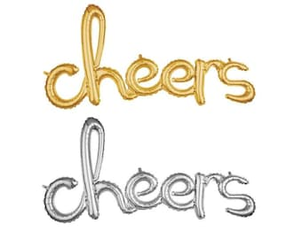 """CHEERS Gold or Silver Script Foil Balloon 40"""" Balloon """"Same Day Shipping Monday-Saturday"""""""