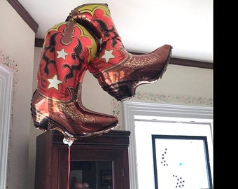 """Giant 36"""" Dancing Cowboy Boots Foil Mylar Balloon,Birthday- party- wild west- Decor prop """"Same Day Shipping"""""""