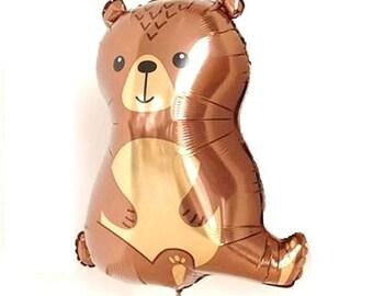 """Bear Balloon 34"""" Woodland Bear Foil Balloon Birthday Wedding Party  Decor prop """"Same Day Shipping"""""""
