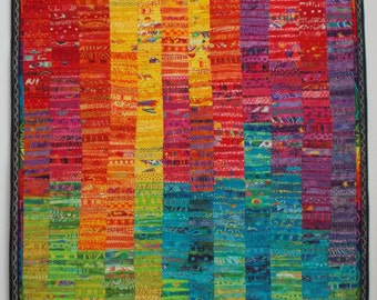 Art Quilt, Wall Hanging, Abstract, Colorful Quilt