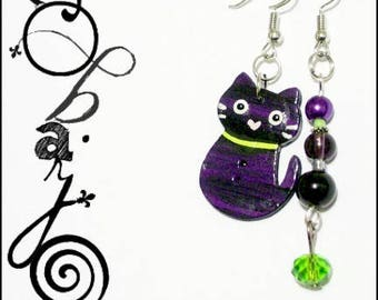 Hand - purple + green painted wood cat earrings