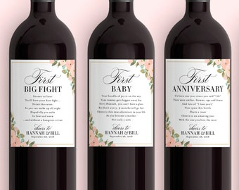 wedding milestone wine labels unique wedding gift floral bridal shower wine basket engagement gift for the bride and groom wine poems