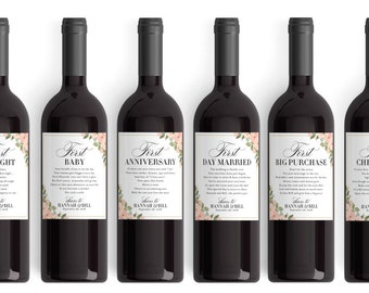 e830f2a04cc The Perfect Wedding Gift - Wedding Milestone Wine Labels - Bridal Shower  Wine Basket Gift - Wine Poem Basket of Firsts