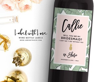 tropical palm will you be my bridesmaid wine labesl maid of etsy