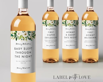 New Mom Gift Wine Labels (Set of 4) Mother's Day Gift Mommy Milestones™ Baby Shower Gift Idea Wine Fun Gift for New Mother