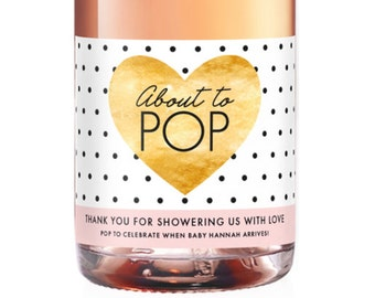 shower hostess gift baby shower thank you gift for hosting baby shower champagne label wine gift for shower thank you champagne label