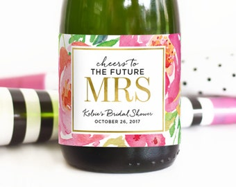 Cheers to the Future Mrs Bridal Shower Mini Champagne Labels - Weatherproof Wedding Shower Favors Floral Bachelorette Party Decorations