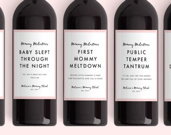New Mom Gift Wine Labels (From 4 Labels) Mommy Milestones™ Baby Shower Gift Wine Fun New Mom Gift New Mommy Mother's Day