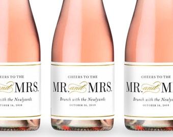 Wedding Favor Mini Champagne Labels, Wedding Thank You, Engagement Gift, Bridal Shower Decor, Wedding Toast - Mr. and Mrs.