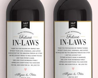 e30690bb01e In Law Wine Labels - Wedding Thank You Gift Parents of the Bride and Groom  - Mother in Law Father in Law Gift Thank You