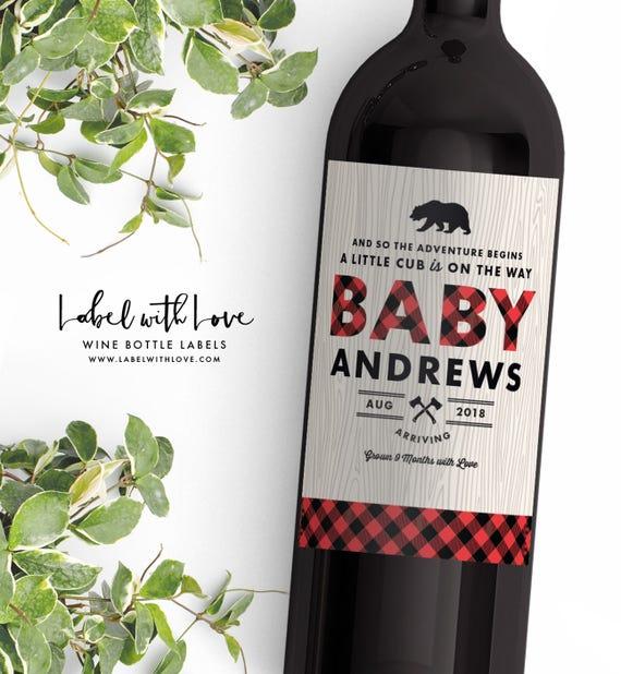 Pregnancy Announcement Wine Bottle Label Lumberjack Baby Etsy