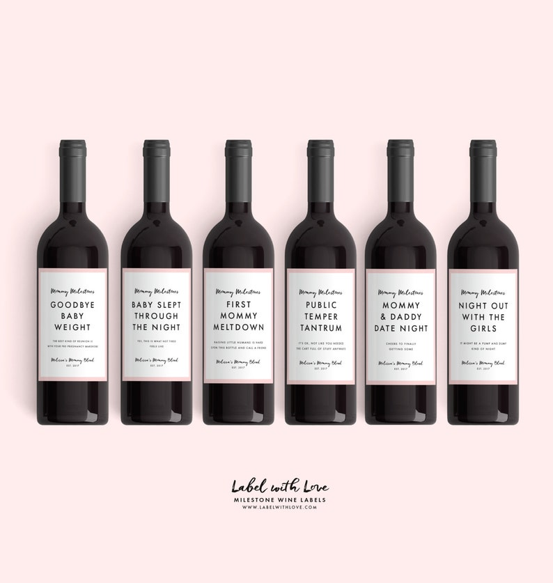 graphic regarding Printable Wine Bottle Tags referred to as Refreshing Mother Reward Wine Labels (Versus 4 Labels) Mommy Milestones™ Youngster Shower Present Wine Enjoyable Clean Mother Present Refreshing Mommy Moms Working day