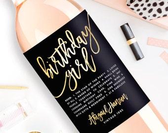 Custom Birthday Wine Label - Custom Wine Label - Personalized Wine Label - Birthday Girl Wine Bottle Label - 21st Birthday Dirty Thirty