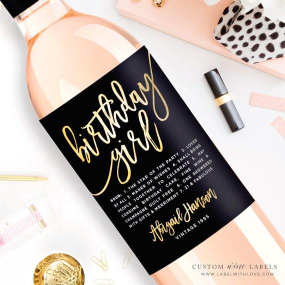 Custom Birthday Wine Label Custom Wine Label Personalized Etsy