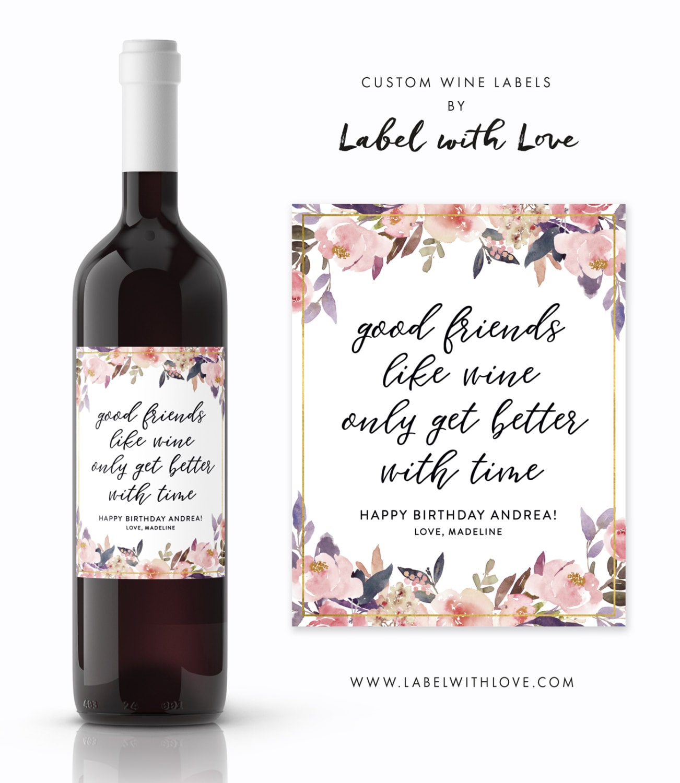 Birthday Wine Labels Happy 30th 50th
