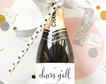 Cheers Y'all Mini Champagne Labels - Weatherproof Bachelorette Party Labels -  Southern Shower Favors Cheers Bitches Wedding Favors