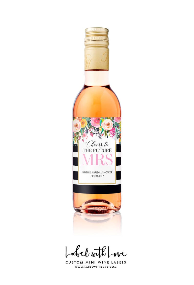 35613c6db61d Bridal Shower MINI WINE Bottle Labels - Weatherproof Floral Cheers to the  Future Mrs. Bachelorette Party Favors - Hens Party