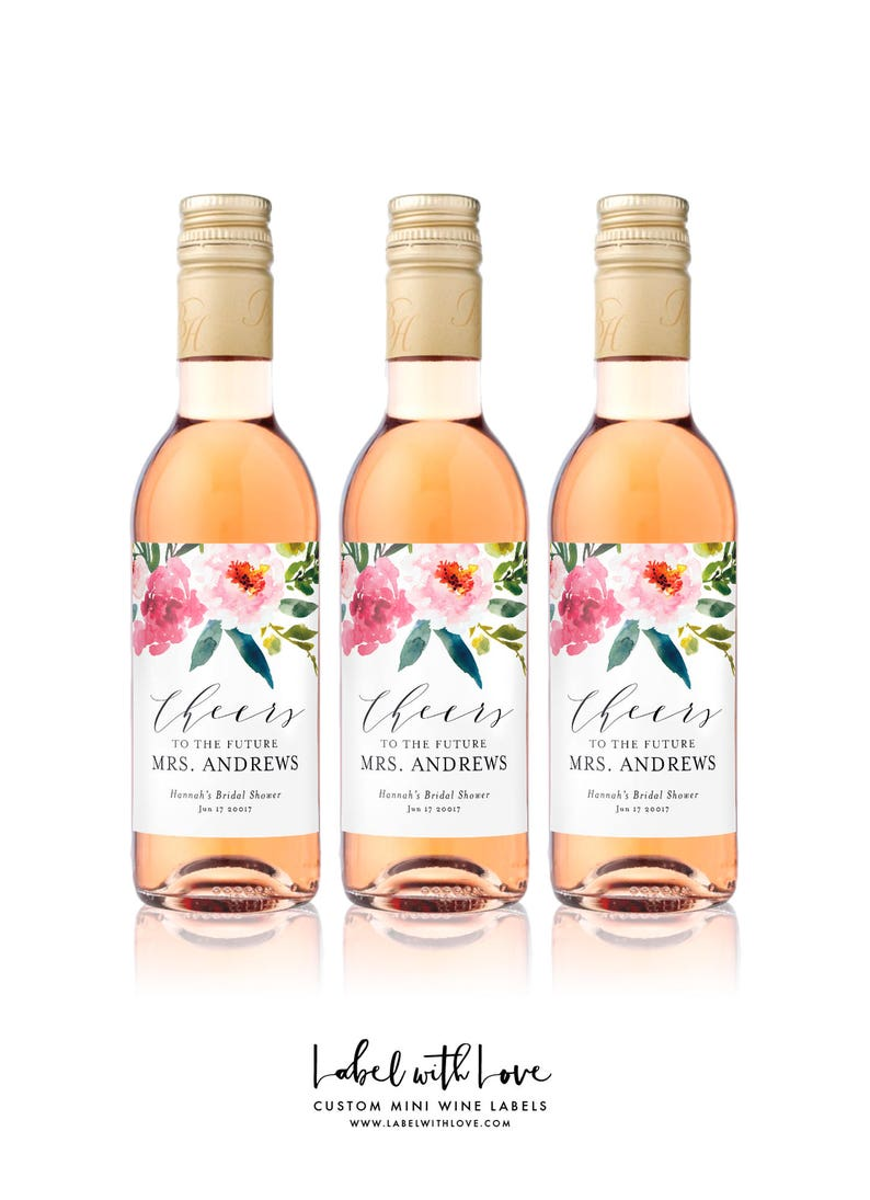 f2589ae0d263 Bridal Shower MINI WINE Bottle Labels - Weatherproof Floral Cheers to the  Future Mrs. Bachelorette Party Favors - Floral Watercolor Drop