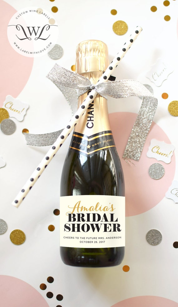 Custom Bridal Shower Mini Champagne Bottle Labels Etsy