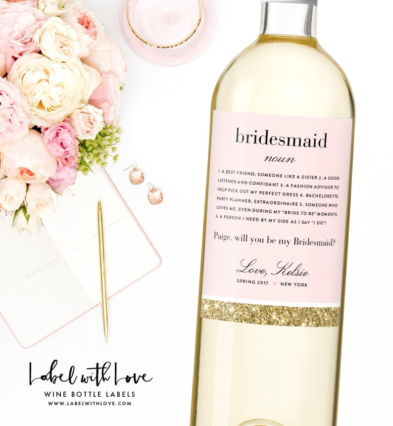 8359065ffe Will You Be My Bridesmaid wine labels bridesmaid Definition | Etsy
