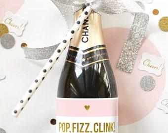 Pop Fizz Clink Mini Champagne Labels - Bridal Shower Favors - Dress Shopping Invitation - Pop the Bubbly Bachelorette Party Decorations