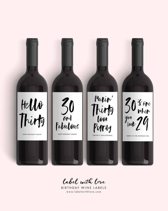 set of 30th birthday wine labels 4 dirty thirty birthday etsy