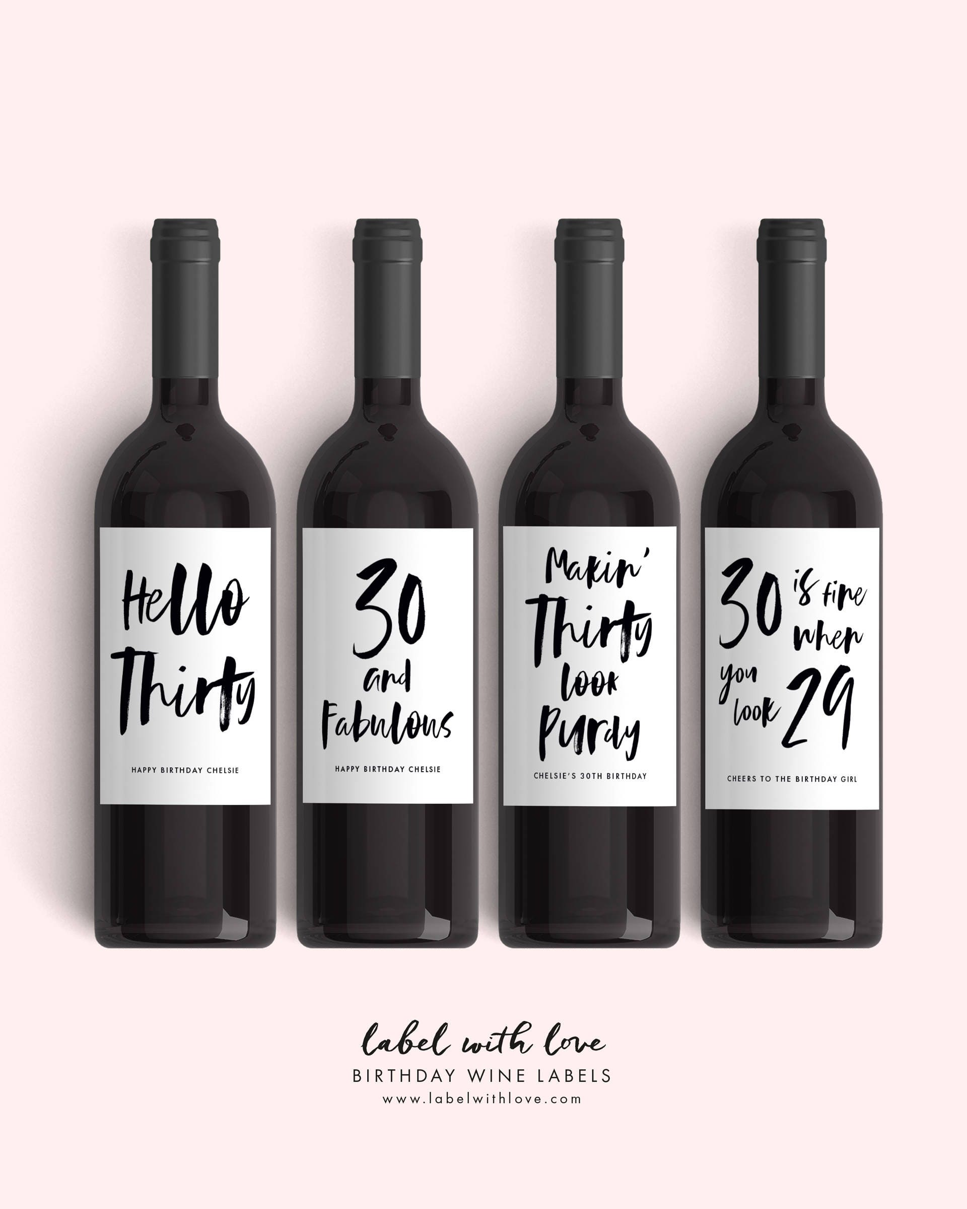 Set Of 30th Birthday Wine Labels 4 Dirty Thirty