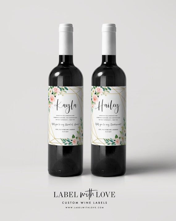 will you be my bridesmaid wine label maid of honor custom etsy