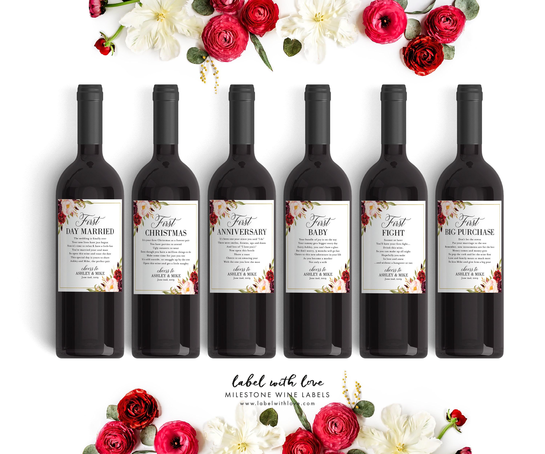 Wine Wedding: Fall Wedding Milestone Wine Labels Winter Wedding Gift
