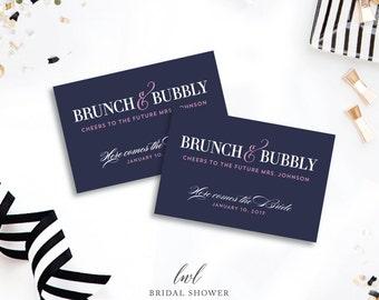 Nautical Bridal Shower Mini Champagne Labels - Brunch and Bubbly Wedding Shower Favors Faux Foil Bachelorette Party Decorations