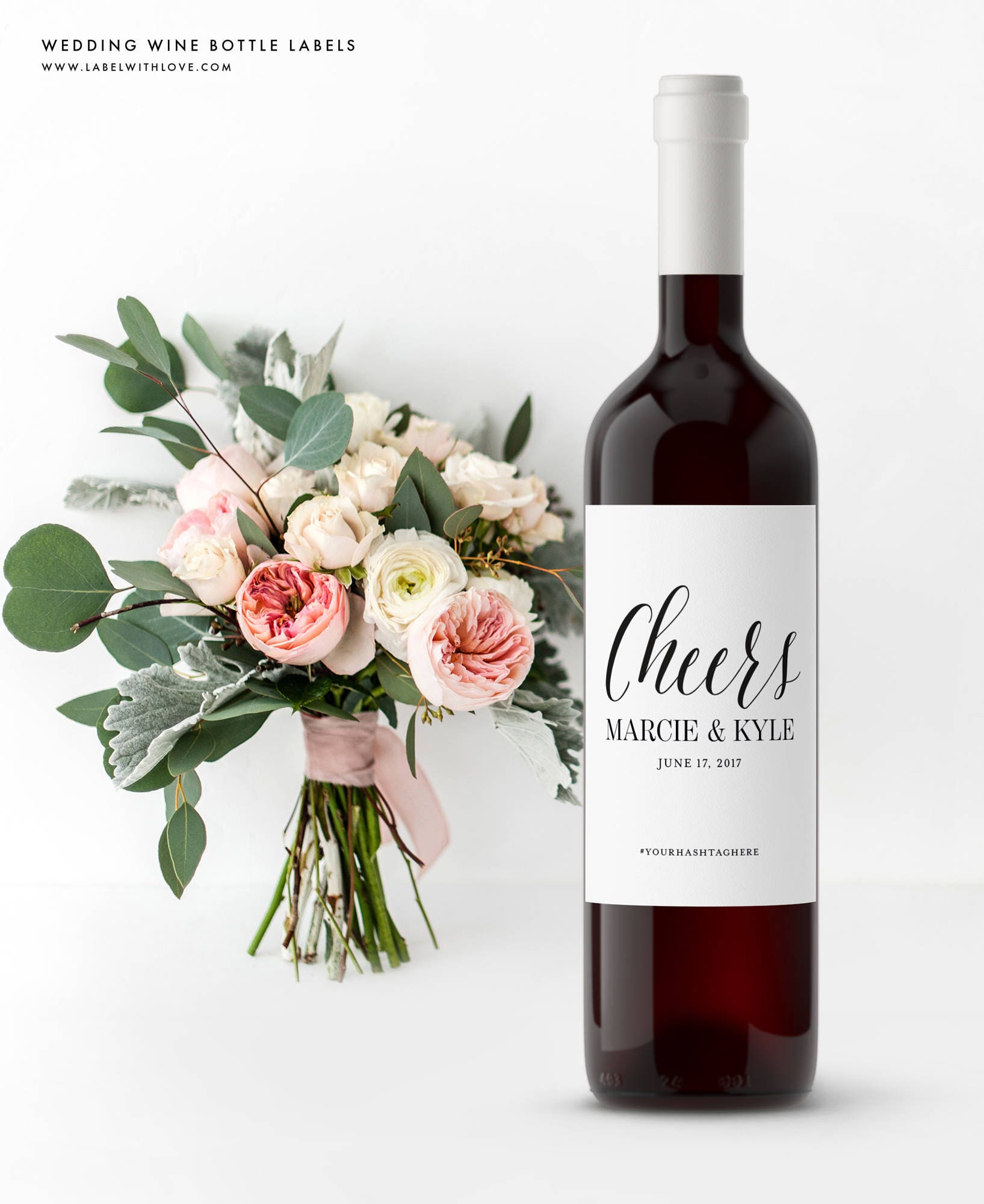 Custom Wedding Wine Bottle Labels Rehearsal Dinner Labels