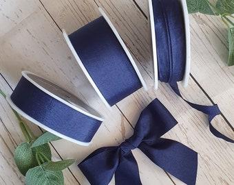 Navy Blue Faux Silk Ribbon. Wedding Stationery - Invites - Bouquet - Blue Ribbon - Bow - Silk