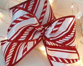 CAKES//GIFT WRAPPING 1m X 63mm CANDY CANE HESSIAN CHRISTMAS RIBBON