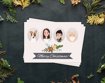 Holiday cards etsy custom christmas card with family portrait illustration flower bushel christmas cards holiday cards happy holidays custom cards m4hsunfo