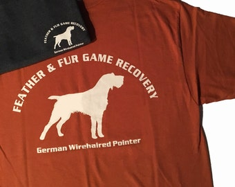 GWP - L, XL German Wirehaired Pointer Game Recovery short sleeve t-shirt. Small design on chest, large design on back.