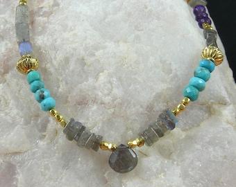 Long Labradorite & Gemstone Necklace