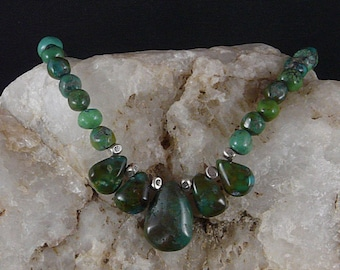 Turquoise Necklace with Hand-Carved Stones