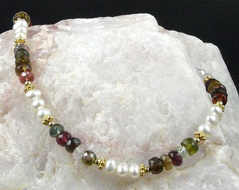 Faceted Tourmaline & Pearl Necklace
