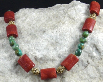 Turquoise Necklace with Sponge Coral