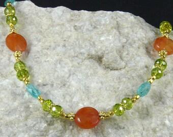 Peridot & Carnelian Necklace
