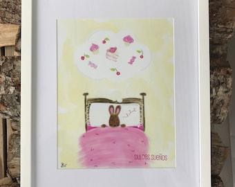 Sweet Dreams Dulces Sueños Digital Art Print 8 x 10 Unframed