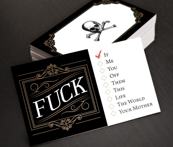 Fuck Cards Funny Hilarious Joke Business Cards Gag Gift Etsy