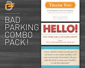 Bad Parking Cards Combo Pack! Cheap, Affordable, Budget Gift, Man, Boyfriend, Husband, Dad, Brother! Gag Gift, Anniversary, Birthday Gift.