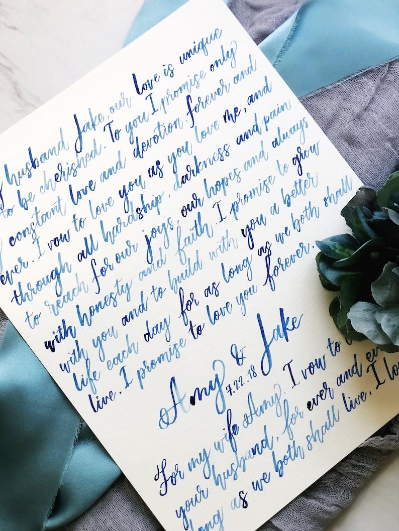 Writing Wedding Vows.Wedding Vows Keepsake Hand Written Calligraphy Watercolor Wedding Vows Wall Decor Art