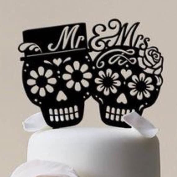 Dia De Los Muertos Mr & Mrs Wedding Cake Topper | Etsy