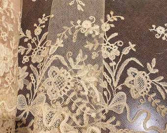Antique Victorian Honiton Guipure Lace /& Tulle Collar