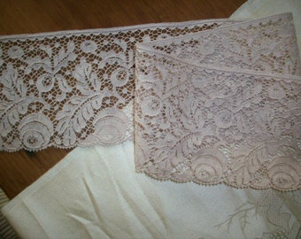Antique lace by the yard alencon lace french  1920 yardage pure cotton