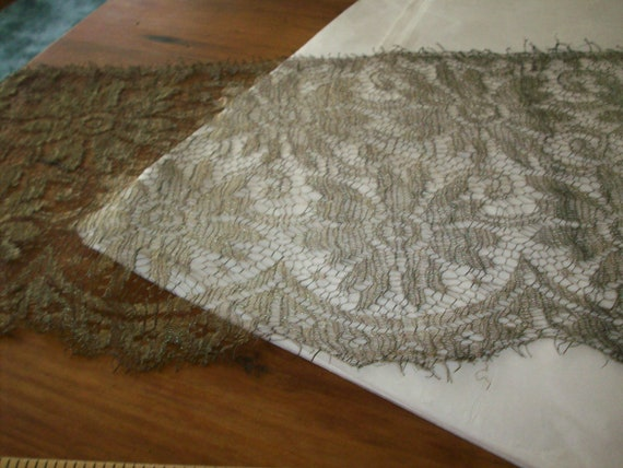 Metallic silver lace 1900s authentic yardage by the yard